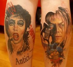 OHH!!! Rocky Horror and Labyrinth leg tattoos. This person's made of awesome.
