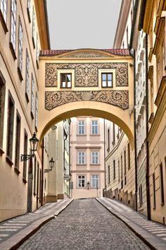 Golden Archway in Prague,  Street Fine Art Print, European architecture, walking in Prague print, pastel buildings street, size 8 x 12' $20 Myartspace.etsy.com