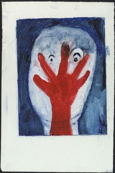 Louise Bourgeois, franco-américaine, 1911-2010. Staring Face with Red Hand, state III, variant, 2000.