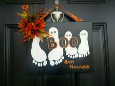 Halloween Ghosts child's footprint painting by therightthing, $35.00