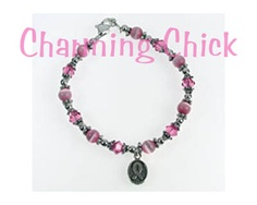 BREAST CANCER AWARENESS OVAL RIBBON CHARM CATSEYE