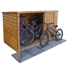 The Overlap Pent Wooden Bike Shed is an attractive and versatile product, housing at least two adult plus a child's bicycle makes these products extremely spacious. Although they have been built for the purpose of storing bicycles, they can also be used as a garden and home equipment storage spaces. This bike store is constructed from overlap cladding and fitted with wide double doors to provide easy access, pad-bolt for extra security and sand felt to protect the roof.