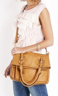 Camel foldover tote with crossbody strap. So versatile!