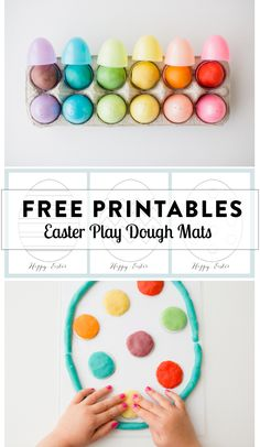 Easter play dough mat free printable - love this candy alternative for the Easter basket, especially with the included Jell-O play dough recipe. Easter Play, Easter Crafts For Kids, Easter Eggs, Easter Ideas, Easter Art, Bunny Crafts, Easter Decor, Kid Crafts, Play Doh