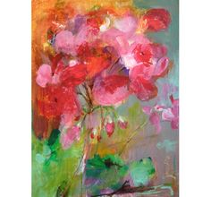 GERANIUM Original Abstract Painting on Stretched by Paulina722, $98.00