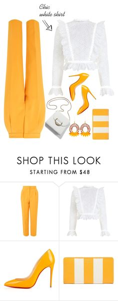 """""""#white shirt"""" by liligwada ❤ liked on Polyvore featuring Topshop, Zimmermann, Christian Louboutin, Balenciaga and Ziio"""