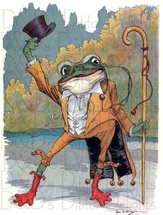 Fabtastic Frog From Oz. Storybook/Fairy Tale VINTAGE  Illustration. Frog Digital Download