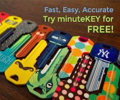 Keep everyone's keys organized with cool designs from MinuteKEY.  Copy any key at one of their kiosks for FREE now.