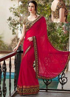 Magenta Embroidery Work Georgette Silk Designer Fancy Wedding Sarees