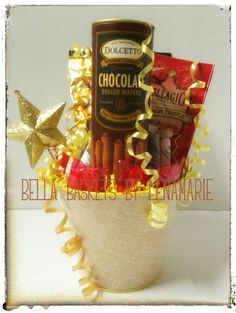 Star Assistant! Professional Admin. Day April 27th, 2016 Includes: Dolcetto Chocolate Wafers, Cafe Latte Candy, Bellagio Peppermint Truffle Hot Cocoa tucked in a decorative pail.  Perfect keepsake for the desk. $24.98 Bella Baskets by Lenamarie bellabaskets@mail.com