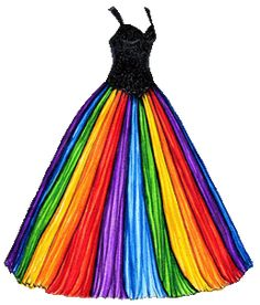 Ballgown with Rainbow Skirt and Black Bodice | Liana's Paper Dolls