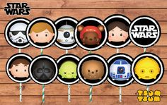 Starwars Tsum Tsum Toppers. Starwars Birthday. by PenguinCre8tions
