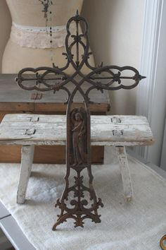 Antique French iron cross  unique and rare by BrocanterieBelleAmi
