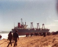 The Eldia- steel freighter blown ashore in Orleans, Ma. on March 30, 1984