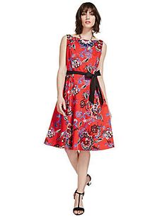 Red Mix Cotton Rich Fit & Flare Floral Prom Dress