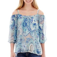 """<p>Live up to your whimsical nature in our sheer, peasant-style paisley top with perky pom pom trim.</p><div style=""""page-break-after: always;""""><span style=""""display: none;"""">"""