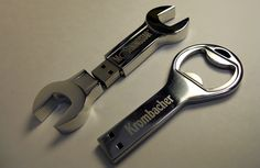 How cool is this? A metal wrench and bottle opener flash drives. CF Gear can create a flash drive out of any material and any shape. These would be great for bar and automotive repair shop promotions.