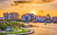 Photo about Sarasota, Florida, USA downtown skyline on the bay. Image of landmark, dusk, downtown - 96922951 Sarasota Florida, Florida Usa, Florida Rentals, Vacation Rentals, Vacations, Moving To Florida, Moving To California, Florida Vacation, The Secret Garden