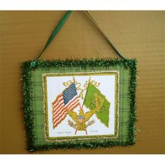 b678bb29a0f9 Items similar to St . Patrick s Day decoration American Irish flag old  fashioned vintage style decoupage wall hanging ornament shabby chic  St.Patty s decor ...