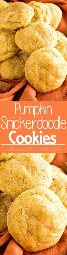 Pumpkin Snickerdoodle Cookies Recipe ~ Soft, Delicious Pumpkin Cookies Rolled in Cinnamon Sugar! The perfect fall treat! ~ http://www.julieseatsandtreats.com