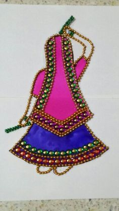 Kundan rangoli folk art Thali Decoration Ideas, Diwali Decorations, Festival Decorations, Silk Thread Bangles, Thread Jewellery, Art N Craft, Craft Work, Embroidery Sampler, Hand Embroidery