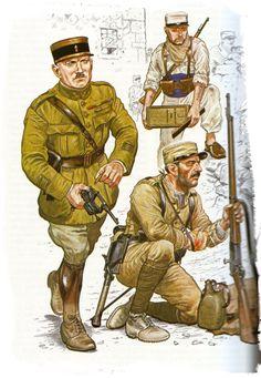 French; Foreign Legion, Morocco 1920-30s Chgef de Battalion c.1925. Legionnaire(kneeling) summer campaign dress c.1925 & Legionnaire Compagnie Montee c.1930. Plate by Mark Chappell