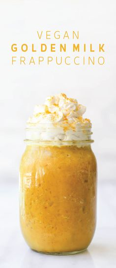 Get in a delicious dose of the golden anti-inflammatory super spice, turmeric, in a cold creamy vegan Golden Milk Frappuccino!