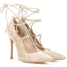 Gianvito Rossi Femì Lace-Up Suede Pumps ($740) ❤ liked on Polyvore featuring shoes, pumps, heels, sapatos, grey, heel pump, suede leather shoes, grey suede pumps, gray suede shoes and grey suede shoes
