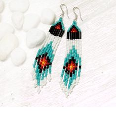 SALE  seed bead earrings  turquoise white black red by heidiroland, $32.00