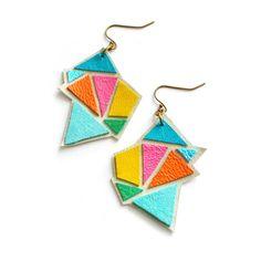 Neon Triangle Leather Earrings Color Block by BooandBooFactory