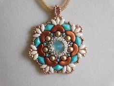 Beading Tutorial, Pendant, Beaded Pattern, Penelope Pendant, Swarovski Rivoli, Arcos bead, Diamonduo, Superduo, Jewelry, Beadweaving, PDF