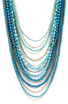 Beaded blue Multi Strand Necklace