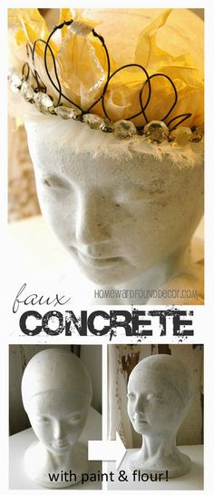 Faux concrete paint treatment (with a secret ingredient!) used on dollar tree pumpkins and styrofoam head forms! Get the tutorial at HOMEWARDfound Decor