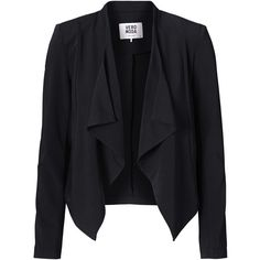 Vero Moda Long Sleeved Draped Blazer (250 GTQ) ❤ liked on Polyvore featuring outerwear, jackets, blazers, tops, coats, black, long sleeve jacket, drapey jacket, long sleeve blazer and short jacket