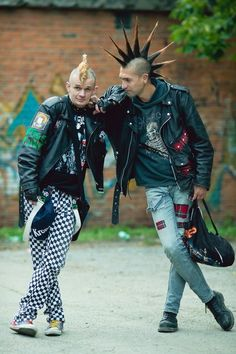 two male punks with mohawks, checkered pants