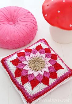 Free Crochet Crocodile Flower Cushion Pattern.