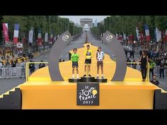 2017 Tour de France: Chris Froome stands atop podium and give his speech - YouTube