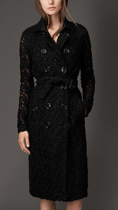 Burberry London Floral Lace Trench Coat