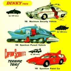 Dinky toys from the Captain Scarlet TV show set of vehicles.These were still around in the when I was a kid. Childhood Toys, Childhood Memories, Gi Joe, Vintage Advertisements, Vintage Ads, Scarlet, Science Fiction, Thunderbirds Are Go, Corgi Toys