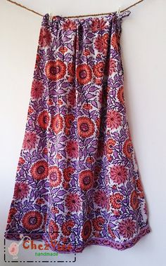 Long Panel floral skirt with drawstring waist  Floral by chezvies, $25.00