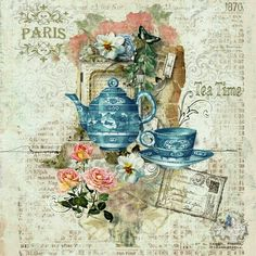 Teapot, teacup, Paris, roses, postcard, on faded blue with writing.