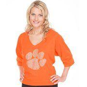 Clemson Tigers Ladies Jewel Fashion V-Neck Top - Orange