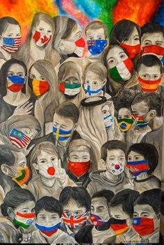 """""""Mask Communication"""" made by a Filipino painter, Christian Trinidad. Art And Illustration, Drawing Competition, Nurse Art, One Word Art, Bible Verse Art, Social Art, Christmas Drawing, Watercolor Art, Art Drawings"""