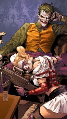 The Joker and Harley Quinn by Clay Mann * Bonnie & Clyde pose. http://clay-mann.tumblr.com/image/88603244671