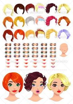 Fashion Female Avatars.  #GraphicRiver         Fashion female avatars. 18 hairstyles, 18 eyes, 18 mouths, 1 head, for multiple combinations. In this image,