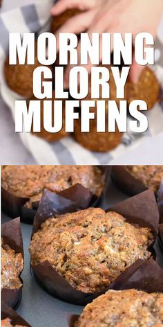 Glory Muffins Morning Glory Muffins - Loaded with carrots, apples, raisins and nuts – these will be come your new favorite muffin!Morning Glory Muffins - Loaded with carrots, apples, raisins and nuts – these will be come your new favorite muffin! Morning Glory Muffins, Healthy Breakfast Muffins, Breakfast Recipes, Dessert Recipes, Dinner Recipes, Low Carb Recipes, Baking Recipes, Health Muffin Recipes, Cookie Recipes