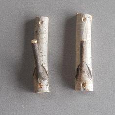 Birch Branch Pair of Rustic Hooks #wood #craft #$8.00