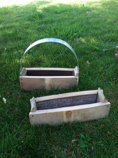 Wine Barrel Basket  Planter Box  Crate from Recycled Wood