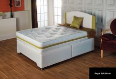 MATTRESS ONLY. Firm open spring support upholstered with generous layers of white fibre and natural cotton and hand tufted with knitted fabric ticking. To View as Divan Set Have A Good Night, Good Night Sleep, Divan Sets, Bed With Posts, New Beds, King Beds, Bedroom Furniture, The Unit, Customer Feedback