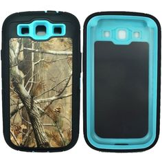 Kecko(TM) Defender Series Natural Tree Camo Tough Armor Military Grade Weather Impact Resistant Shock Absorption Rugged Hybrid Case With Built-in Screen Protector for Samsung Galaxy S3 i9300--Trees/Leaves On The Core (Teal) ** Check out this great product.